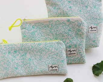 Mint color pouch hand-printed - Small bags with leaves screen-printed- makeup pouch - pencil case - small purse