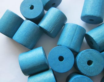 Turquoise Blue Wood Cylinder Beads 20mm 10 Beads