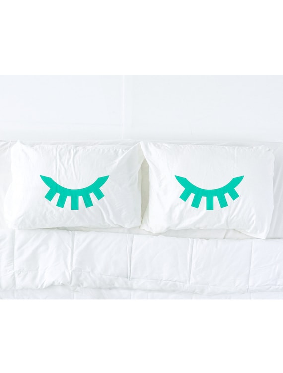 Sleeping Eyes pillow case set in Emerald Green, eyelash pillow, green eyes, novelty pillow, pillows for the bed, bedroom decor, Pillow Talk