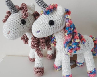 Made To Order:- Crochet Amigurumi Sparkly White Rainbow/Pink/Purple ANY COLOUR Unicorn Mystical Fairy Gift Sparkle Twinkle 18cm