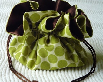 Medium Amy Butler Lotus Full Moon Polka Dot Lime Jewelry Travel Tote\/Pouch