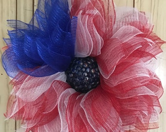 Patriotic deco mesh flower wreath