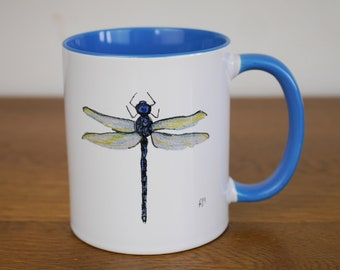 Dragonfly Mug - Dragonfly Cup - Ceramic Mug - Dragonfly -  for insect lovers - for tea lovers - blue inside and handle -  Coffee Mugs