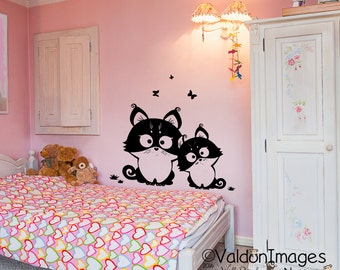 Two little kittens childrens wall decal, nursery decals, nursery wall decal, kids room wall decal, cat wall decal, nursery wall decor