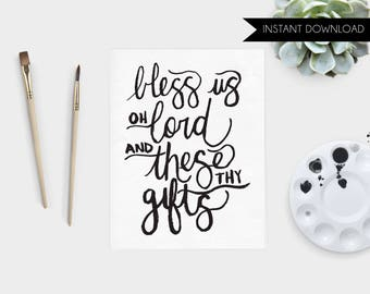 Bless Us Oh Lord Printable Art Print Home Hand Lettered Catholic Prayer Meal Prayer Instant Download Art Print Quote Digital Art Print