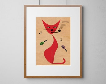 Party Cat Mid-Century Modern Print | Wood Wall Art | Mahogany Wood |  A3 or 12 x 16 Inch | Free Shipping Worldwide