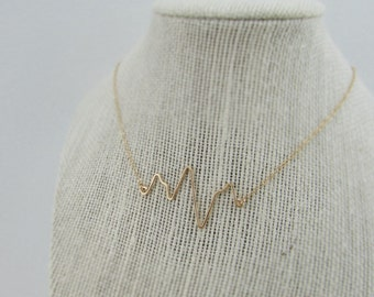 Heartbeat Necklace 14K gold filled, Handcrafted Heartbeat, EKG Gift, Pulse, Bride Shower Gift, Bridesmaid Gift, Nurse Gift, Doctor Gift