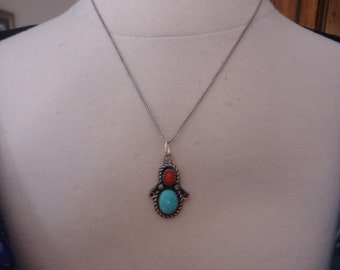 "Vintage Southwestern Turquoise and Coral 925 Sterling Silver Pendant on 18"" Professionally Oxidized Sterling Box Chain"