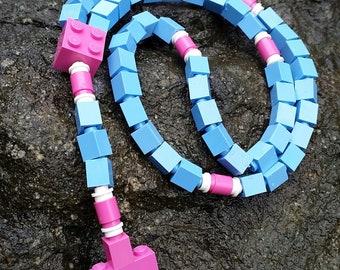 The Original Mementomoose Rosary Made with Lego Bricks - Pink and Blue Catholic Rosary