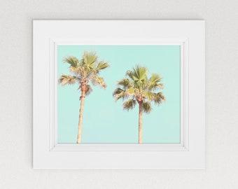 Palm Tree Photography, Turquoise Blue Palm Tree Decor, Beach Decor, Palm Tree Prin Art, Palm Art, Tropical Print, Colorful Beach Art, Palms