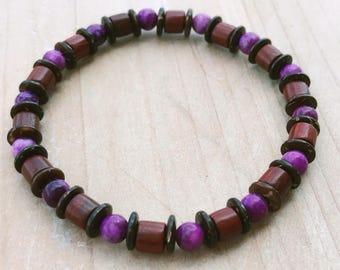 Men's Bracelet, Sugilite Bracelet, Rosewood Bracelet, Boho Bracelet, Yoga Bracelet, Mala Bracelet, Wrist Mala, Spiritual Bracelet