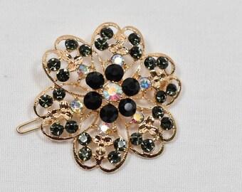 Green & Black Rhinestone Hair pin, Wedding bridal hair clip, Rhinestone Hair clip, wedding cake accessories, DIY Supply, Hair Accessories