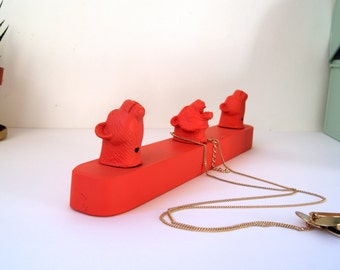Jewelry display Coral Beasts. Vintage toys. Wall storage. Necklace holder. Jewelry organizer. Hooks for jewelry. Jewelry rack Coral 30 cm