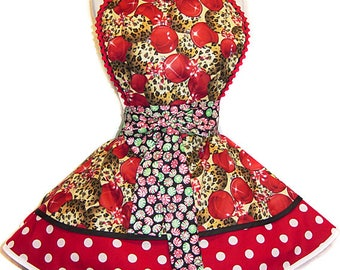 I'm Dreaming Of A Leopard Christmas Pinup Apron/Retro Apron/Woman's Apron/Rockabilly/50s Style/Diner Apron/Christmas Apron