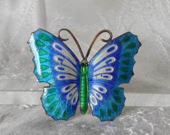 """Vintage Hand Enameled Metal Butterfly Pin Costume Jewelry 1.5"""""""