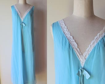 60's chiffon nightgown / Lisette Aqua blue chiffon long nightgown size small