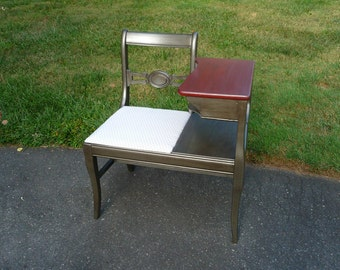 Hand Painted Vintage Telephone Table / Gossip Bench