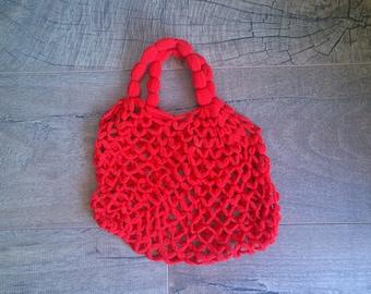 Vintage knitted red market handbag/Red handbag/Knitted handbag/Groceries bag