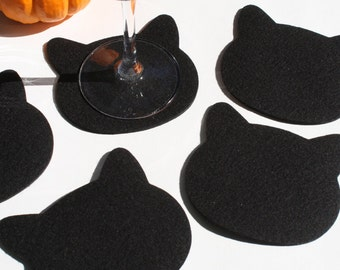 Black Cat Lover Coasters Halloween Party Table Decor Wool Felt Coaster Set Cat Head