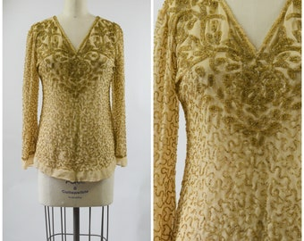Gold Beaded Blouse Sheer Beige Silk Crepe Intricate Gold Beading Bell Sleeves Size Small Evening Top