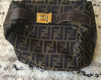 ... buy vintage fendi ff zucca pequin stripe print leather hand bag top  handle leather bucket tote e4f2008682b7f