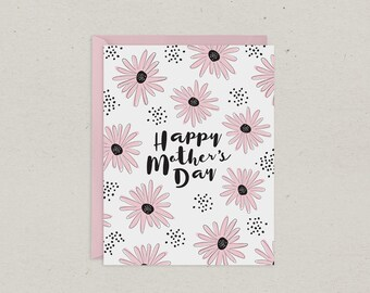 Mothers Day Card | Pink Daisies | Mom | Greeting Card | Pink and Black