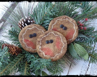Set of 3, Extreme Primitive Gingerbread Men Ornaments, Gingerbread Man Boy Ornies, Christmas Tree Ornaments, Package Tie On, OFG FAAP