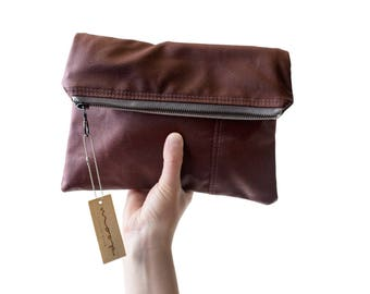 The Envelope Clutch no.1 - in oxblood waxed canvas