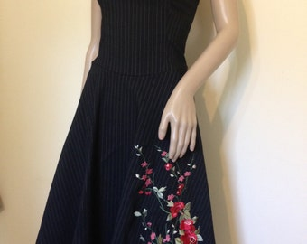 90s Black Strapless Pinstripe Tea Dress with Floral Embroidery