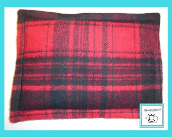 "Flannel Heating Pad Microwavable, Organic Flax Seed, Rice Heating Pad, Back Massage Therapy, Plaid Heating Pad, Spot Heat Pack, 6"" x 8"""