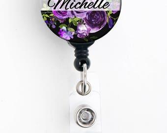 Retractable ID Badge Holder -Purple Floral Bouquet - Personalized Name Badge Reel, Steth Tag, Lanyard, Carabiner Nurse Badge / Teacher Badge
