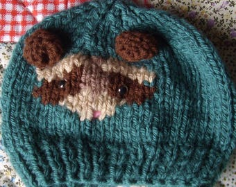 Knitted hat with ferret on Baby size