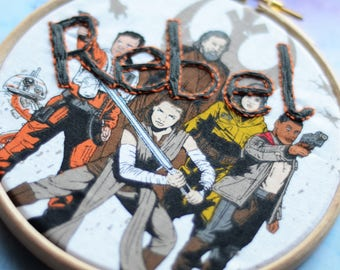 """Rebel embroidery hoop art on Star Wars fabric in 5"""" hoop. Home decor; embroidered art; nerd gift"""