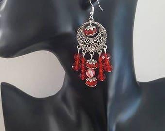 """Earrings """"dangle red"""""""