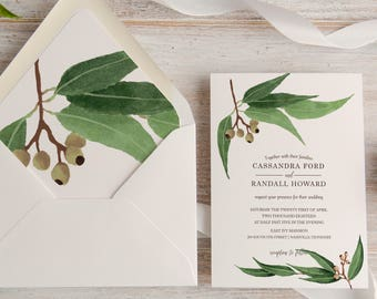 Olive Branch Greenery Calligraphy Wedding Invitation Suite, Custom, Traditional, Envelope Liner, Initials,  Made To Order   Deposit