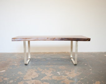 Walnut Coffee Table or Bench Solid Brass base