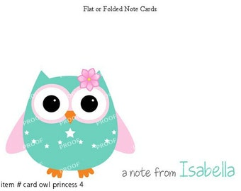 Girl Teal and Pink Owl Note Cards Set of 10 personalized flat or folded cards