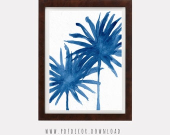 Palm Tree Print, Tropical Wall Art, Tropical Decor, Blue Art Prints, Blue Leaves, Digital Download, Tropical Leaves, Tropical Print, Prints