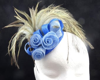 Blue fascinator, fascinator comb, fascinator headband, wedding hat, headpiece sinamay fascinator, Kentucky Derby, UK fascinator handmade