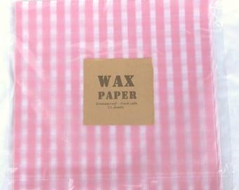 25 Pink Gingham WAX PAPER sheets-Pink Lemonade party shop EXCLUSIVE-basket liners-food safe