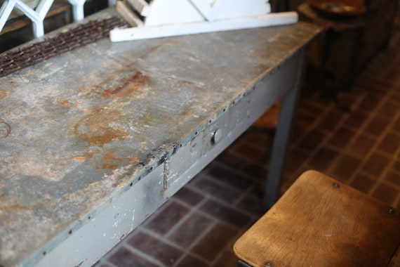 Farmhouse Industrial Galvanized or Zinc Top One Drawer Desk or Potting Table