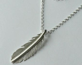 Sterling silver handmade feather necklace, hallmarked in Edinburgh