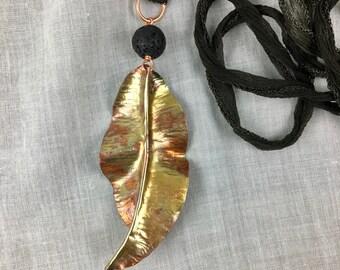 OOAK Copper Leaf Pendant, Copper Leaf Necklace, Essential Oil Diffuser Jewelry,