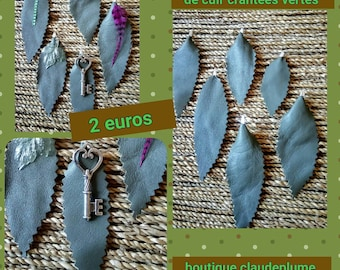 notched green leather leaves 6 pendants