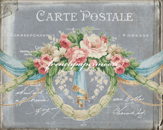 Vintage French Digital Postcard, Carte Postale, Big and small, French Wallpaper, French Graphic Transfer Image