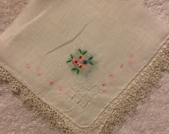 Hand Tatted Embroidered Handkerchief