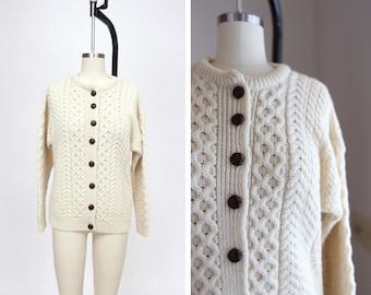 1980s Irish Fisherman Cardigan { M } Vintage 80s Wool Sweater