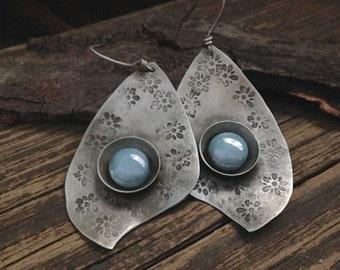 Rustic silver earrings with Montana blue Czech glass, textured dangle earrings