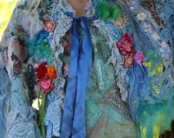 Blue rococo cape, wearable art, hippy gypsy wrap, sassy , bohemian romantic  tattered laces,