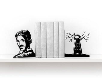 Tesla bookends Science gift Metal bookends Book ends Book shelf decor Alternative energy Modern bookends - black